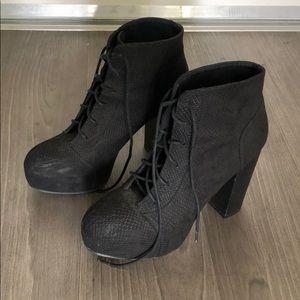 H&M platform booties high heel black ankle boots